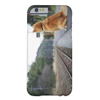Perro que se sienta en la estación de tren funda de iPhone 6 barely there