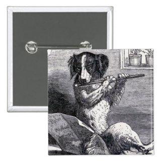 """""""Perro que toca ejemplo del vintage de la flauta"""" Pin Cuadrado"""