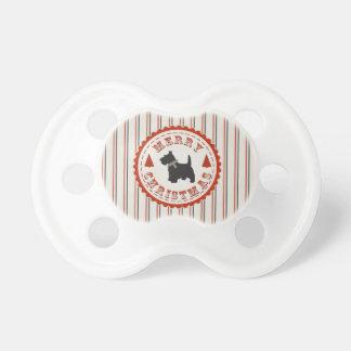 Perro retro de Terrier del escocés del navidad Chupete De Bebé