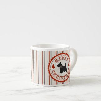 Perro retro de Terrier del escocés del navidad Taza Espresso