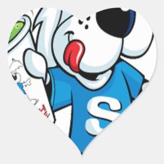 Perro retro del aguanieve pegatina en forma de corazón