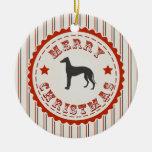 Perro retro del galgo de las Felices Navidad Adorno Redondo De Cerámica