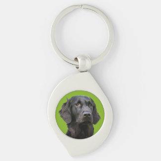 Perro revestido plano del perro perdiguero, foto llavero plateado en forma de espiral