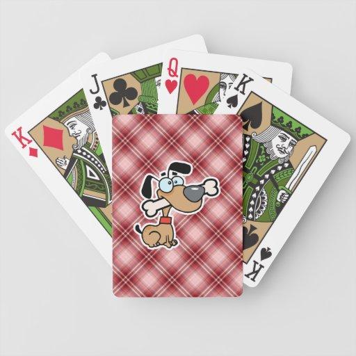 Perro rojo del dibujo animado de la tela escocesa barajas de cartas