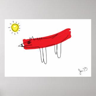 Perro rojo grande póster