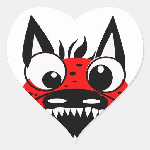 Perro rojo pegatina en forma de corazón