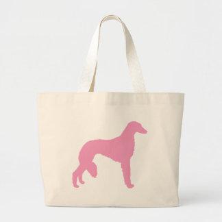 Perro rosado de Saluki Bolsa Tela Grande