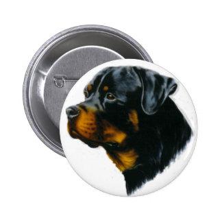 perro-rottweiler pin redondo de 2 pulgadas