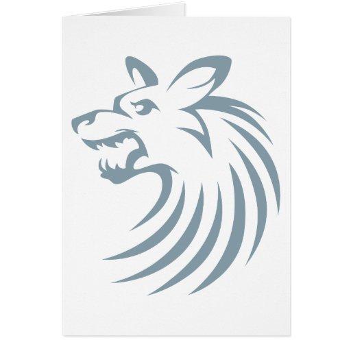Perro salvaje africano en estilo del dibujo del tarjeta de felicitación