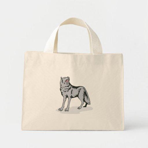 Perro salvaje del lobo que grita bolsa lienzo