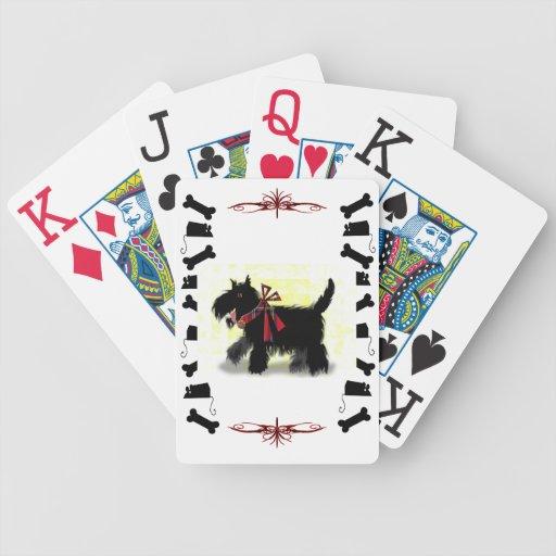 perro scotty feliz baraja de cartas