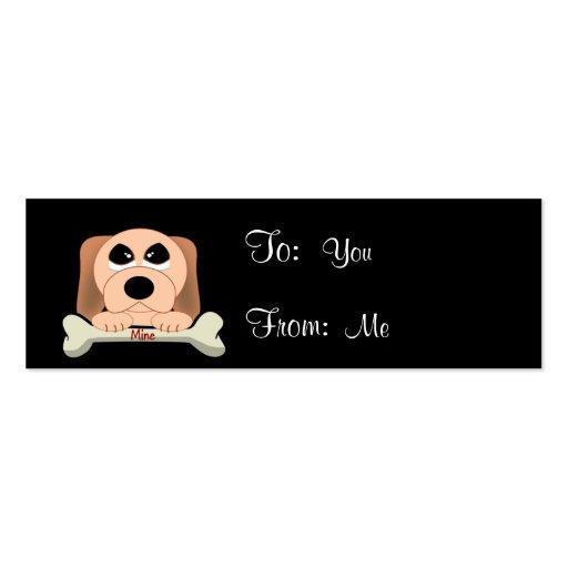 Perro serio con un hueso que dice los míos tarjetas de visita mini