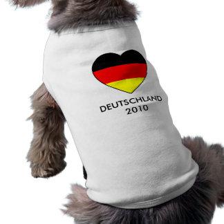 perro Shirt fútbol Alemania MUNDIAL 2010 Playera Sin Mangas Para Perro