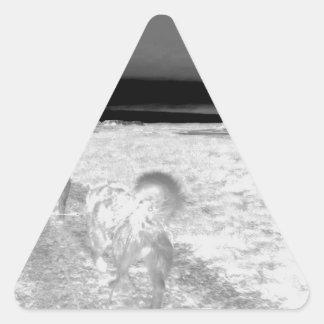 Perro Sledging Pegatina Triangular