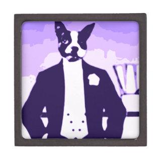 Perro sobre ciudad caja de joyas de calidad