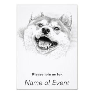 """Perro sonriente de Shiba Inu Invitación 5"""" X 7"""""""