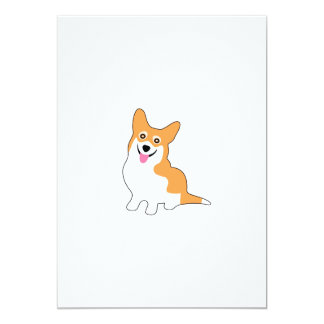 """Perro sonriente lindo del Corgi Galés del Pembroke Invitación 5"""" X 7"""""""