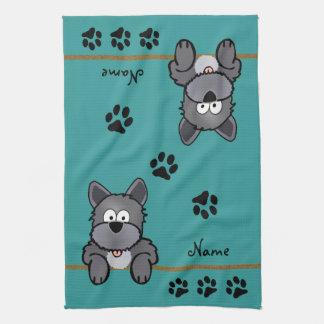 Perro sucio toalla
