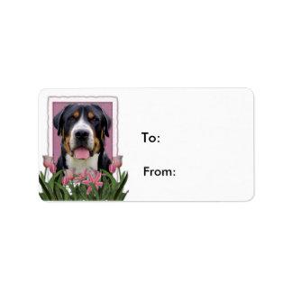 Perro suizo de la montaña de los tulipanes del etiqueta de dirección