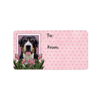 Perro suizo de la montaña de los tulipanes del etiquetas de dirección