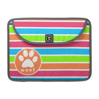 Perro, tejido; Rayas rosadas anaranjadas de neón d Funda Macbook Pro