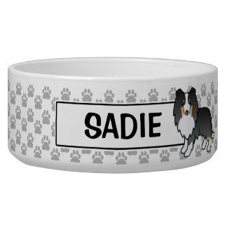 Perro tricolor y nombre de Personalizable Sheltie Comedero Para Mascota