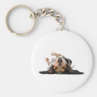 Perro upside-down llavero redondo tipo pin