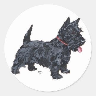 Perro valiente del escocés etiquetas redondas