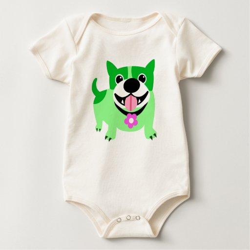 Perro verde lindo y flor rosada trajes de bebé