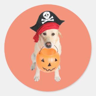 Perro vestido pegatina redonda
