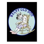 Perro viejo salado postal