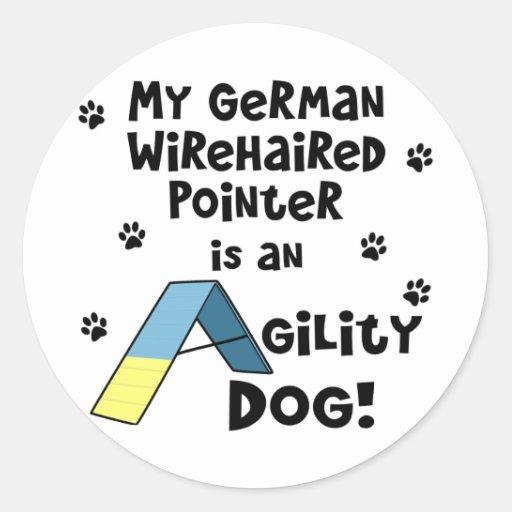 Perro Wirehaired alemán de la agilidad del Pegatina Redonda