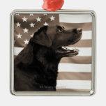 Perro y bandera americana adorno
