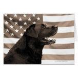Perro y bandera americana felicitaciones