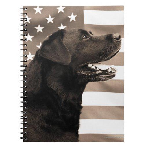 Perro y bandera americana libretas