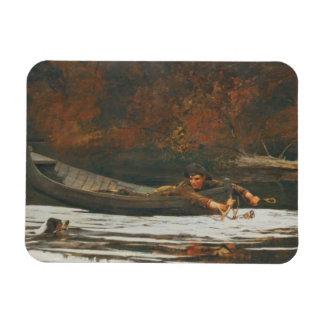 Perro y cazador, 1892 (aceite en lona) imanes de vinilo