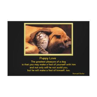 Perro y gatito en amor impresiones en lona