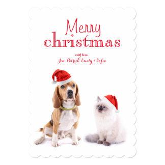 """Perro y gatito lindos con los gorras del navidad invitación 5"""" x 7"""""""