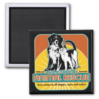 Perro y gato animales del rescate imán cuadrado