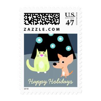 Perro y gato con el árbol de navidad sellos postales