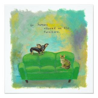 """Perro y gato de la chihuahua en arte de la invitación 5.25"""" x 5.25"""""""
