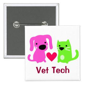 Perro y gato de la tecnología del veterinario con  pin cuadrado