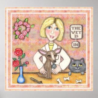 Perro y gato de señora Vet With Póster