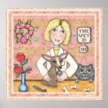 Perro y gato de señora Vet With Posters