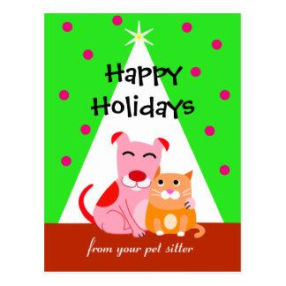 Perro y gato del día de fiesta del negocio del mas tarjeta postal