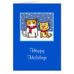 Perro y gato del día de fiesta en la nieve felicitaciones