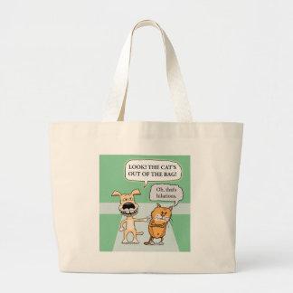 Perro y gato divertidos bolsa tela grande