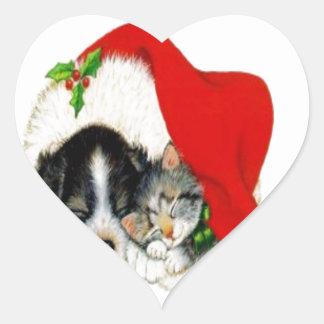 Perro y gato pegatina en forma de corazón