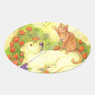 Perro y gato/pegatinas de la pesca pegatina ovalada