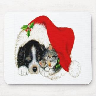 Perro y gato que comparten el gorra de Santa Alfombrilla De Ratón
